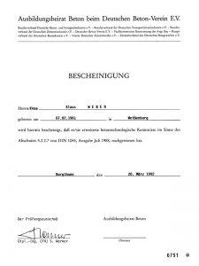 Bescheinigung: Erwerb betontechnologischer Kenntnisse